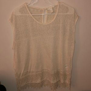Cream detailed short sleeve top